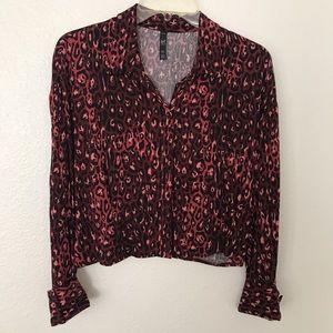 Zara Red Cheetah Print Blouse